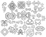 27 stylized outlined motifs and fl