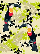 Seamless background with toucans
