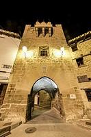 Rubielos de Mora, municipality of Gudar-Javalambre comarca and province of Teruel. Traditional architecture of the village by night, Teruel, Aragon, S...