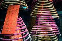 Incense coils at Tin Hau Temple, Yau Ma Tei, Kowloon, Hong Kong, China.