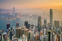 Skyscrapers in central Hong Kong seen from Victoria Peak at sunrise, Hong Kong Island, Hong Kong, China.