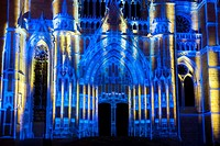 """""""""""""""""""""""La Cathédrale Infinie"""""""" spectacle in the cathedral of Beaubais, Oise, Picardie, France."""