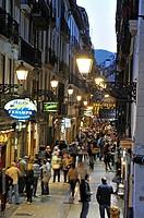 Fermin Calbeton Street at dusk, Old Town, San Sebastian, Bay of Biscay, province of Gipuzkoa, Basque Country, Spain, Europe.