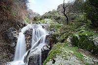 Waterfall near Navalafuente, Madrid, Spain.