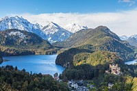The beautiful Hohenschwangau Castle (High Swan County Palace) with landscape and lakes, Bavaria, Germany, Europe