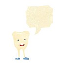 cartoon happy tooth with speech bubble