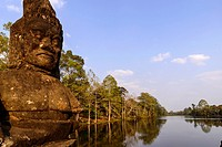 Cambodia, Angkor on World Heritage list of UNESCO, Angkor Thom, Southern Gate and Giants Alley and the moat.