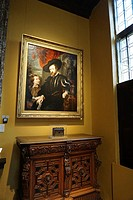 A corner in the Rubens House. The painting is a self-portrait of Peter Paul Rubens with his son Albert. Antwerp, Belgium, Europe.