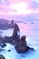 The Urros or Small islands in Liencres, Cantabria, Spain.