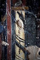 Snake, fresco by Ioannis Pagomenos in St Nicholas Chapel, Maza, Crete, Greece.