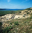 Ruins of the theatre of Hephaistia before its restoration in 2000, Lemnos island, Greece. Greek civilisation, 5th-4th century BC.