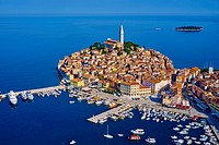 Croatia, Istria, old town of Rovinj, St Euphemy cathedral, aerial view.
