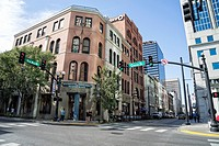 Intersection of 5th AVe North and Church Street, in Downtown Nashville, TN. Area of Country Music Bars, Restaurants, Concert Venues, Office Buildings,...