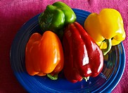 Bell peppers (Capsicum annuum) on plate