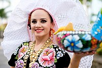 Portrait of young woman smiling. Puerto Vallarta, Jalisco, Mexico. Xiutla Dancers - a folkloristic Mexican dance group in traditional costumes represe...