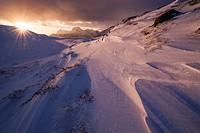 Winter sunrise over mountain landscape, Moskenesøy, Lofoten Islands, Norway.