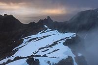 Mountain landscapes from the summit of Hustind, Flakstadøy, Lofoten Islands, Norway.