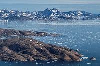 Late summer sea ice at mouth of Ammassalik Fjord, Tasiilaq, Greenland.