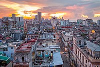 View of Centro Habana district and in background Vedado district, La Habana, Cuba.