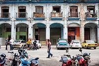 Street scene, in Teniente Rey street, La Habana Vieja district, La Habana, Cuba.