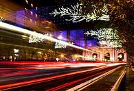 Puerta de Alcalá at Christmas, night view. Madrid, Spain.
