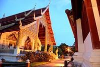 Wat Phra Singh at night in Chiang Mai, Thailand.