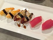 Plate of mixed sushi in Denver, CO.