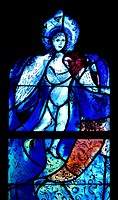 Tudeley, Tonbridge, Kent, UK. All Saints Church. Stained Glass Window by Marc Chagall - angel.