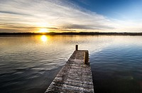 A dock on the Patuxent River at sunset in Calvert County, Maryland.