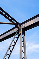 detail the structure of a metal bridge. Huesca Province, Aragon, Spain.