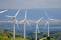 group of windmills for renewable electric energy production, Navarre province, Spain.