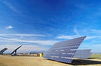 solar panels for electrical energy production. Zaragoza Province, Aragon, Spain.