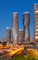 Absolute World Towers 4 & 5 (The Marilyn Monroe Towers) at night. Mississauga, Peel Region, Ontario, Canada.