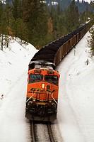 BNSF coal train at Overlook, Spokane, Washington, USA.