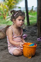 3 year old girl at the beach