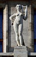 Prague, Czech Republic. Municipal Library (Mestska knihovna: 1928 - Art Nouveau) in Mariánské námesti (Virgin Mary Square). Art Nouveau statue on the ...