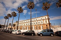 Former hospice-Antiguo hospicio by the Promenade in Campo del Sur Avenue, Cádiz City, Andalusia, Spain, Europe.