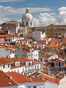 View over the sea of houses of the Alfama, the old town dating back to moorish times. Lisbon (Lisboa) the capital of Portugal. Europe, Southern Europe...