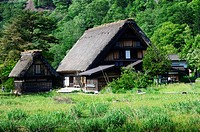 The Gassho-style houses found in the Historic Village of Shirakawa-go on the Hida Higlands in Japan.