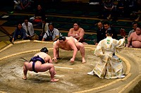 Sumo competition at the Kokugikan stadium in Tokyo,Japan, Asia.
