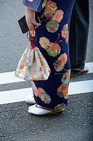 Detail of a woman wearing a traditional japanese kimono, Japan.