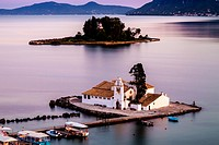 Vlacherna Monastery and Mouse island, Kanoni, Corfu, Greece.
