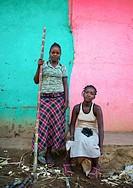 Ethiopia, Omo Valley, jinka, two ethiopian women selling sugar canes in the market.
