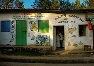 Ethiopia, Omo Valley, jinka, veterinary shop with animals paintaings on its walls.