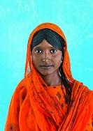 Ethiopia, Afar Region, Semera, portrait of an afar tribe girl with braided hair.