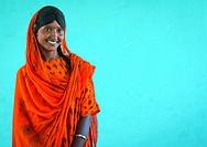 Ethiopia, Afar Region, Semera, portrait of an afar tribe girl with braided hair and sharpened teeth.