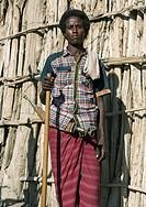 Ethiopia, Afar Region, Afambo, portrait of an afar tribe man with his traditional knife.