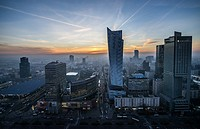 Warsaw, Poland. View with Central Railway Station, Golden Terraces shopping mall, Zlota 44 skyscraper and InterContinental.