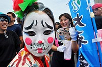 Naha, Okinawa, Japan: performer at the Haarii (Dragon Boat Festival), May