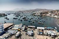 Pucusana port in the Pacific coast. Lima department, Peru.